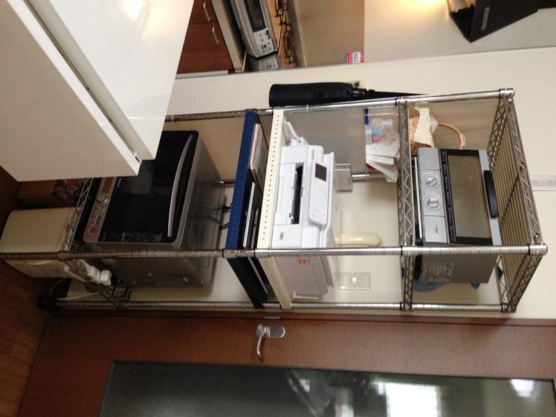 キッチンのFAX付き電話機を置いているラックafter