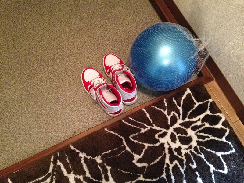 玄関の床に置かれたボール